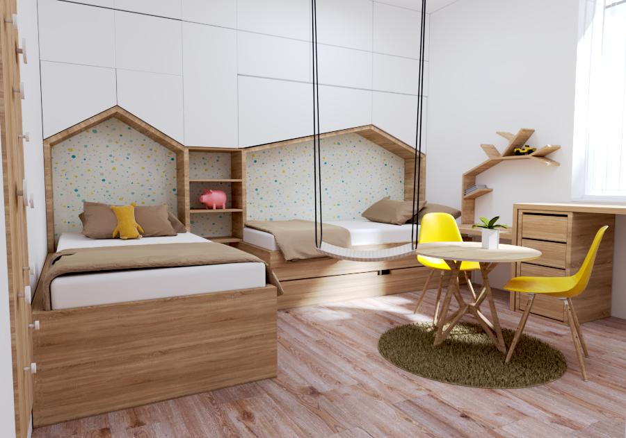 Návrh interiéru detskej izby s hojdačkou