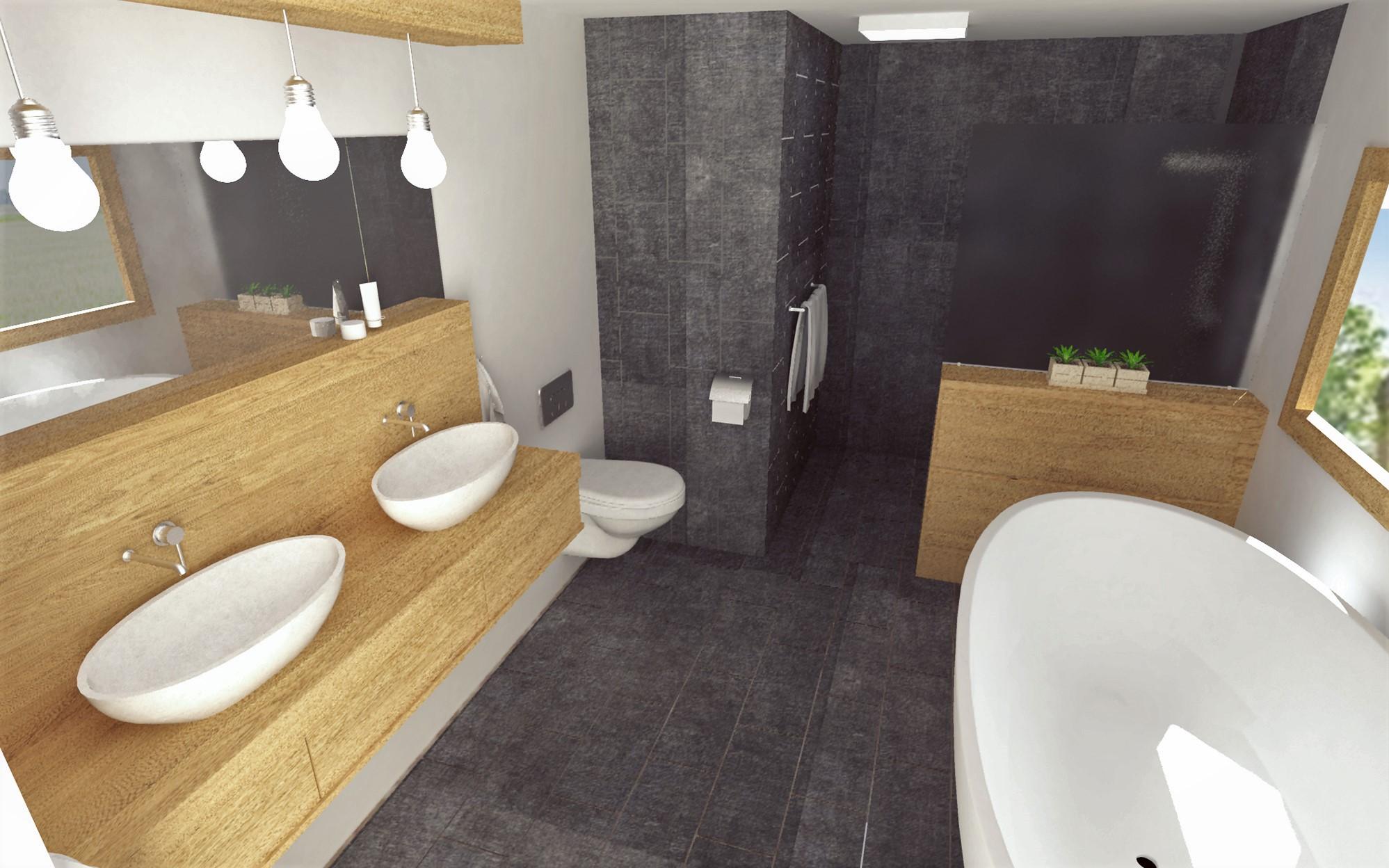 Návrh interiéru kúpeľne (Wood/Gray)