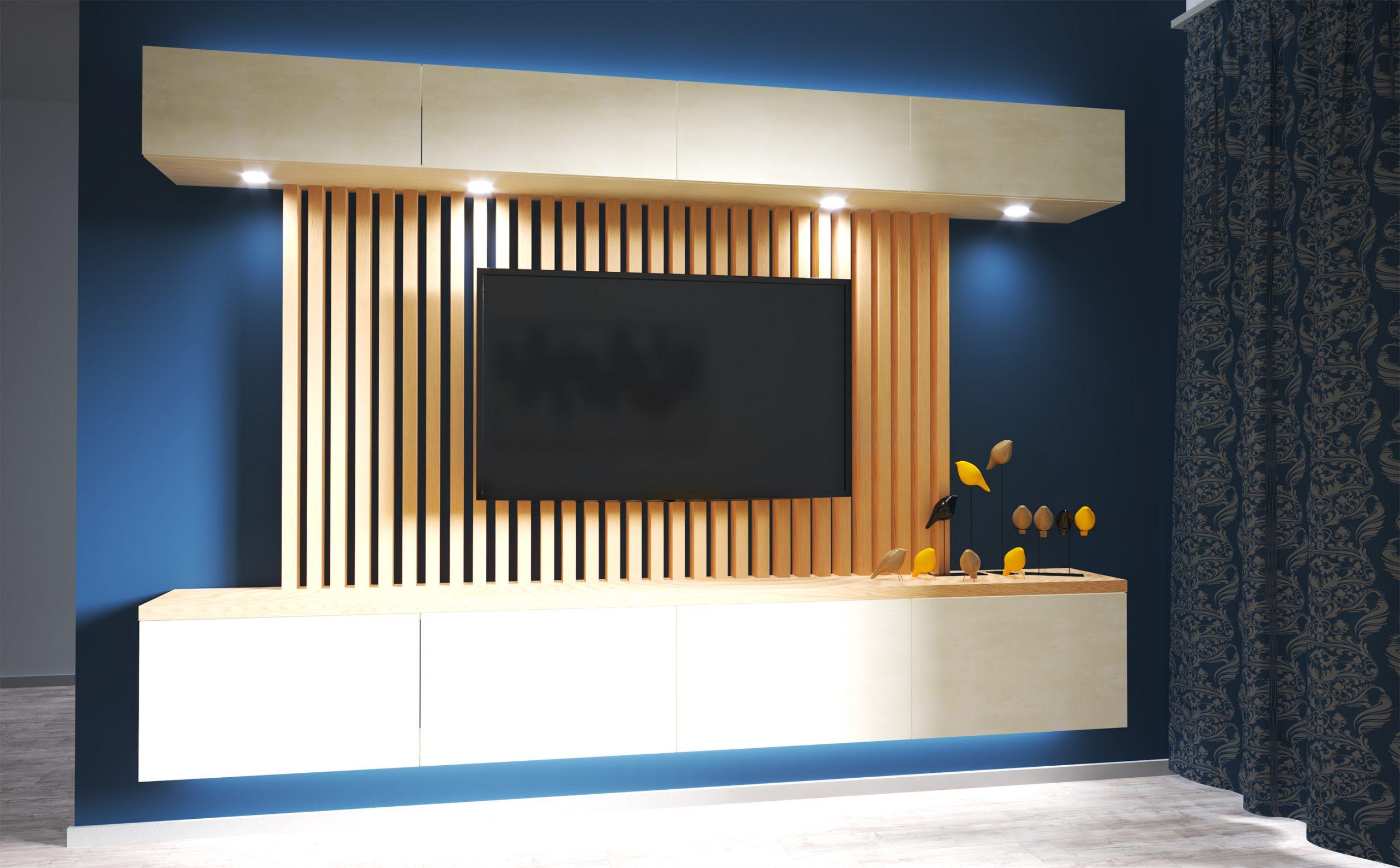 Návrh interiéru obývacej izby s jedálňou (White/Blue)
