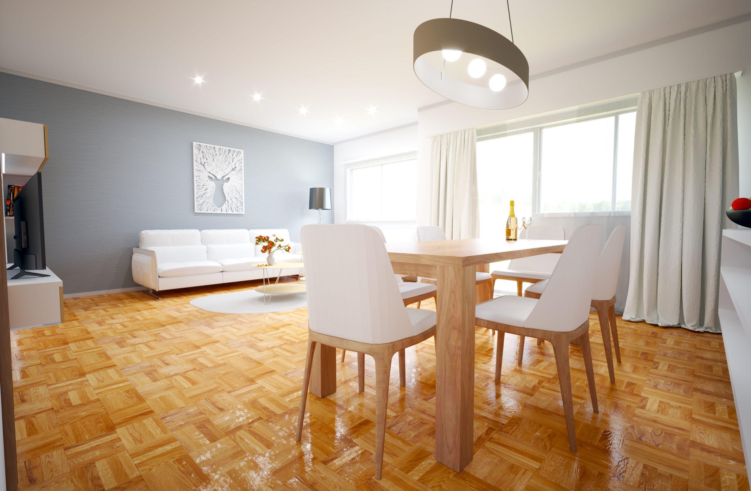Návrh interiéru obývacej izby s jedálňou (White/Gray)