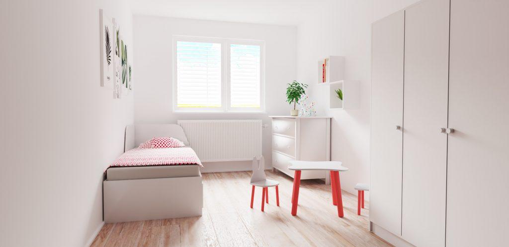 Návrh hosťovskej izby na príležitostné prespávanie s detským kútikom
