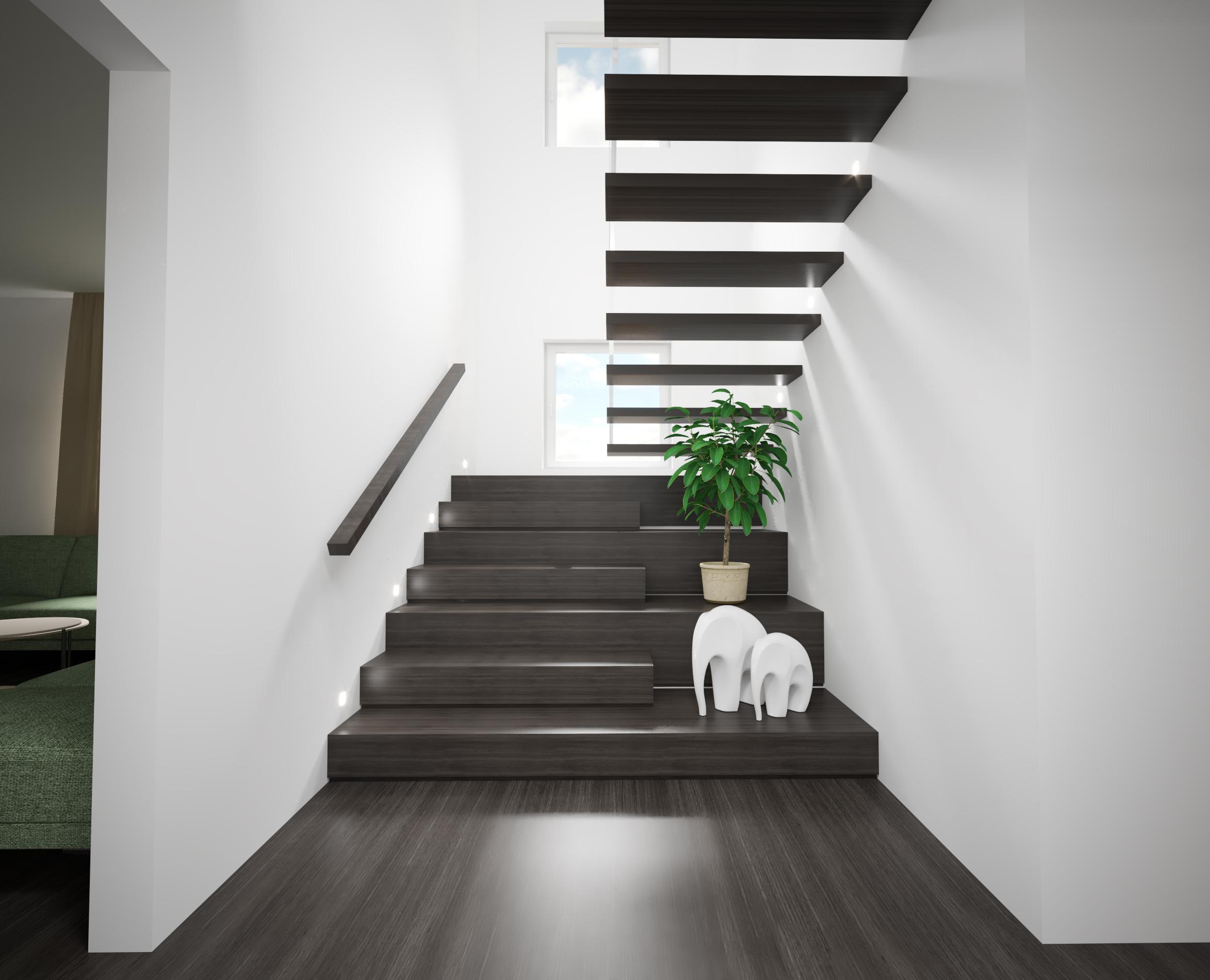 Návrh interiérového schodiska kotveného do steny