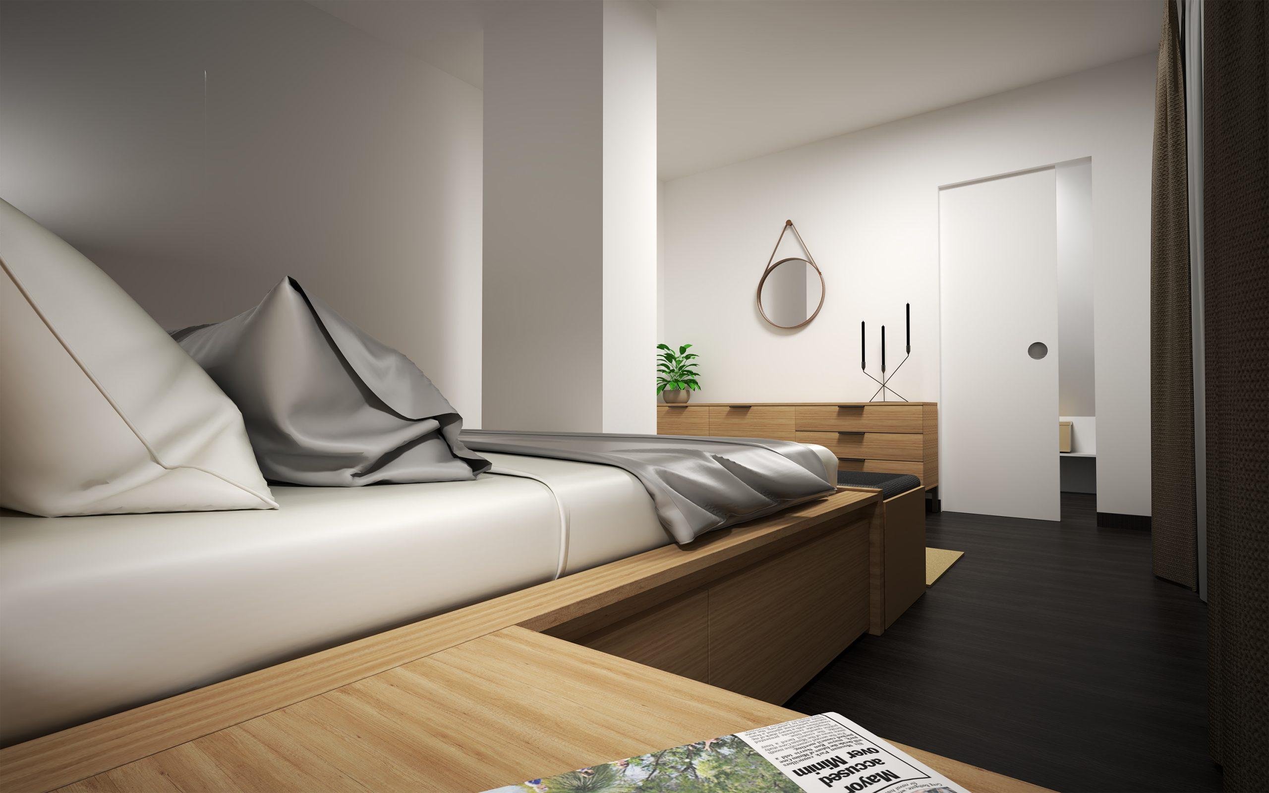 Návrh interiéru spálne s oddeleným šatníkom
