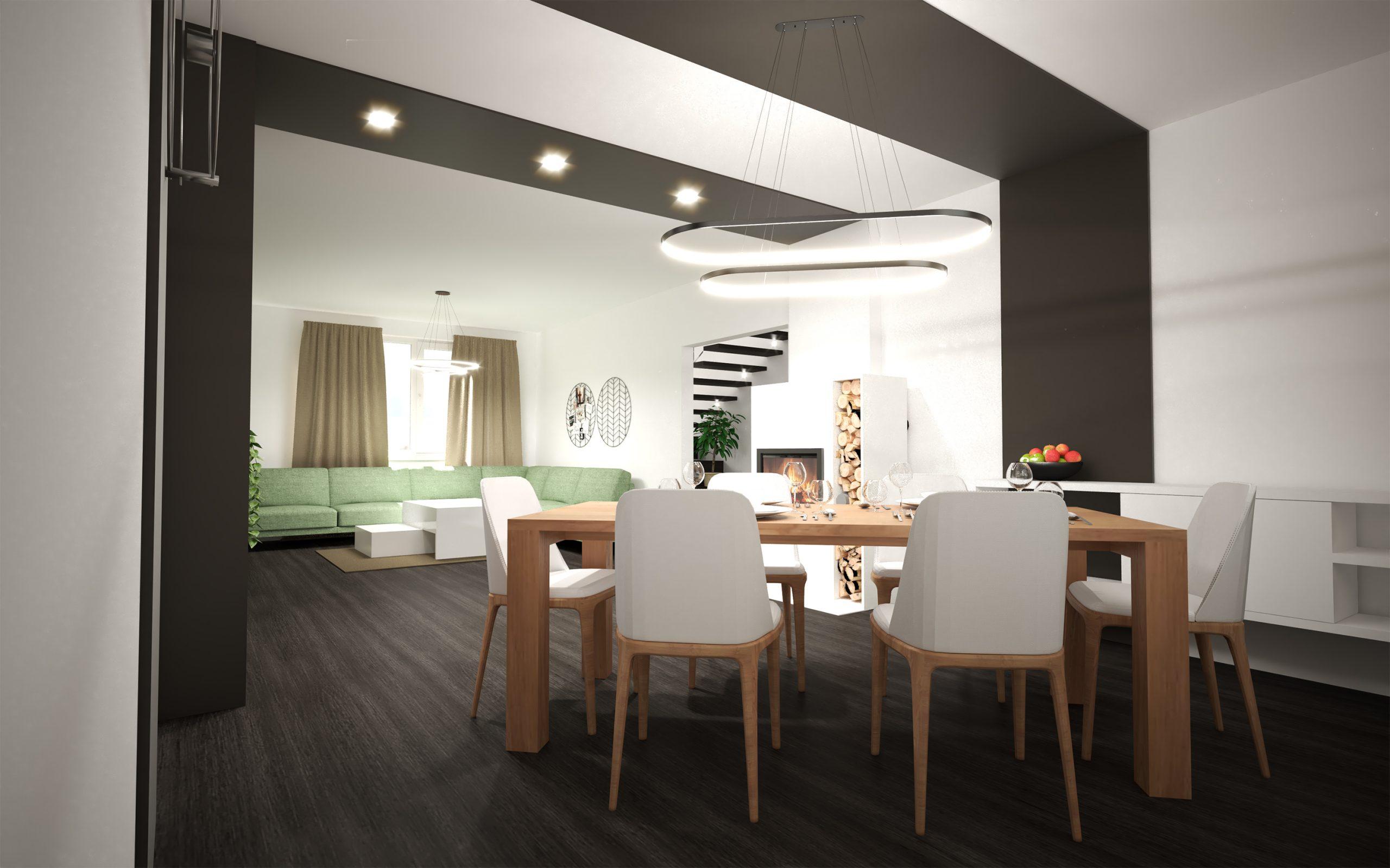 Návrh interiéru obývacej izby s jedálňou (White/Dark)