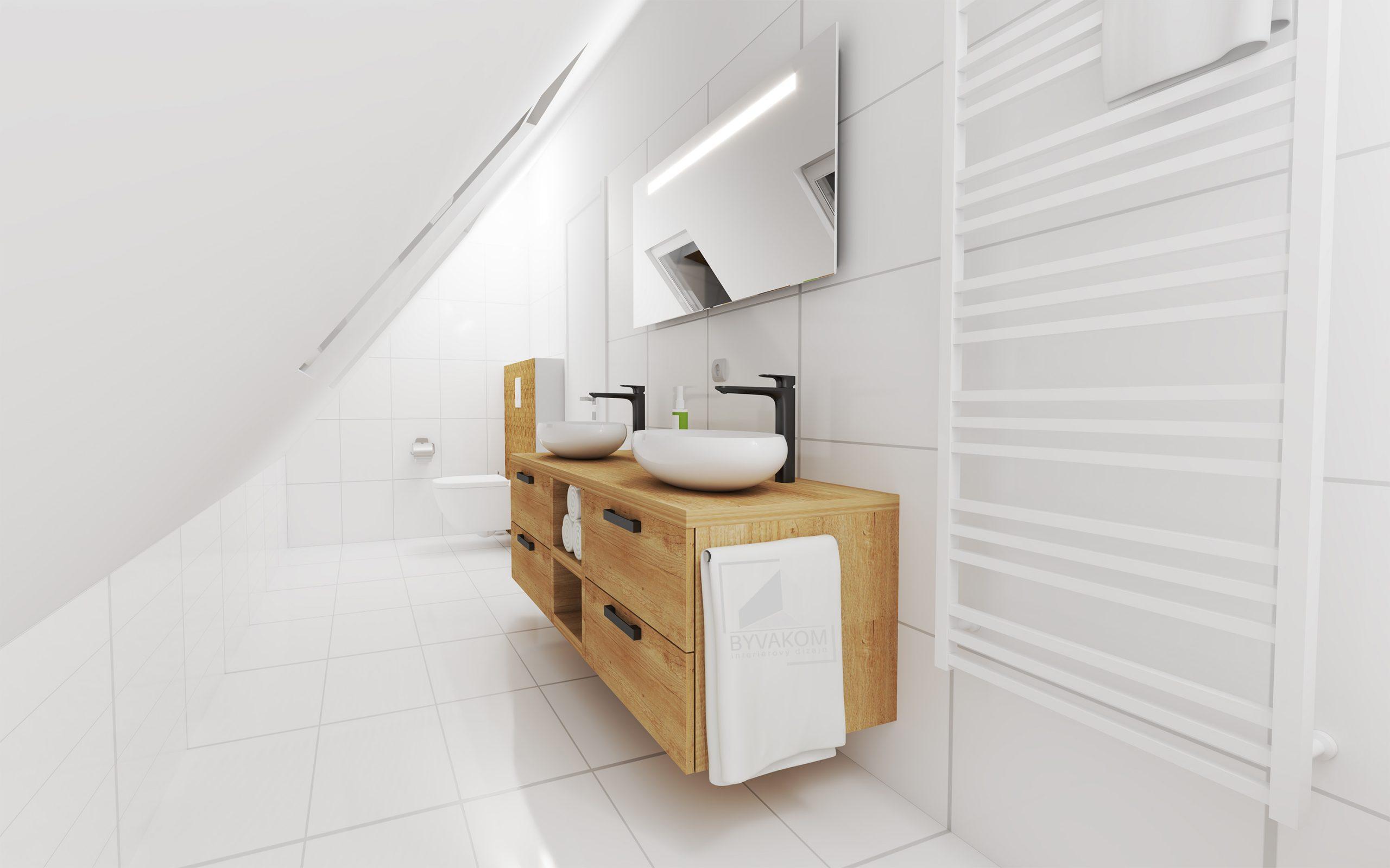 Návrh interiéru kúpeľne (Wood/White)