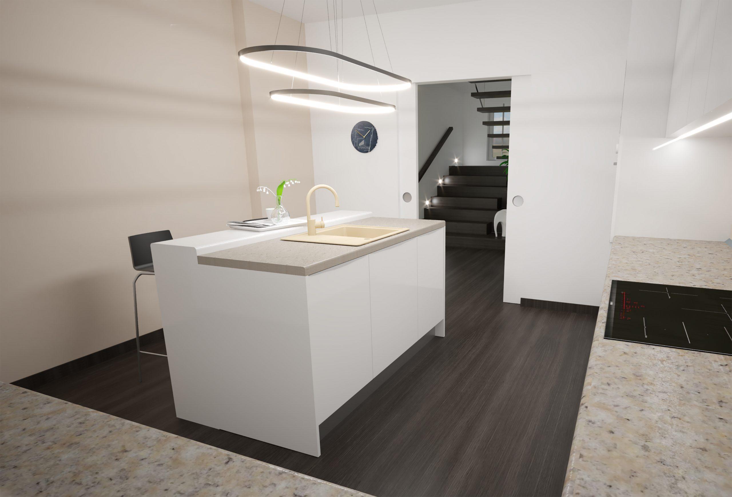 Návrh interiéru kuchynskej linky na mieru s ostrovčekom