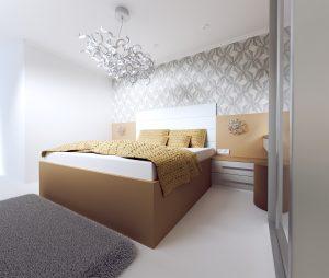 Interiérový dizajn návrh spálne 1 - pocit hotelovej izby - BYVAKOM vizualizácia