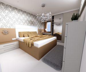 Interiérový dizajn návrh spálne 2 - pocit hotelovej izby - BYVAKOM vizualizácia interiéru