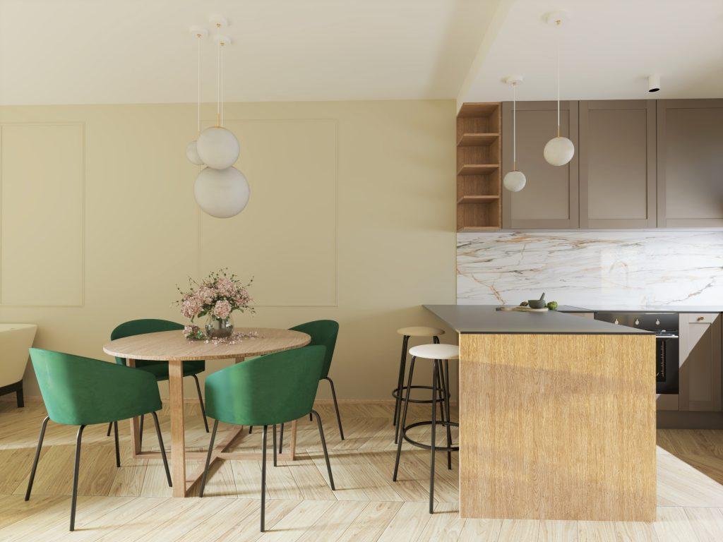 Návrh kuchyne a obývacej izby na mieru v 3 izbovom byte (Trenčianske Teplice)