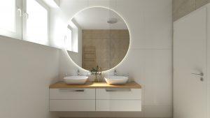 Návrh kúpelne so sprchovacím kútom so sklennou stenou na mieru - BYVAKOM Komplexné bývanie